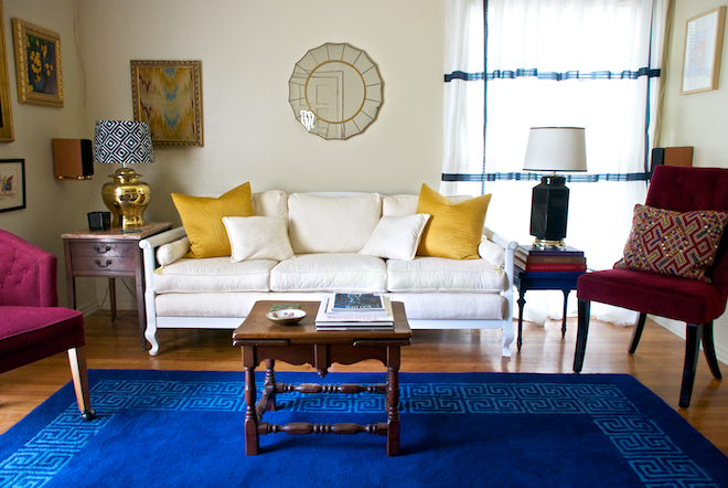 I Wanted To Brighten And Liven The Room With Color Light Neutrals My Ivory Sofa From Craigslist Bold Blue Rug Jonathan Adler For JCP